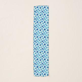 Blue Watercolor Scale Pattern Scarf