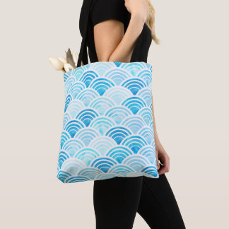 Blue Watercolor Seigaiha Waves Pattern Tote Bag