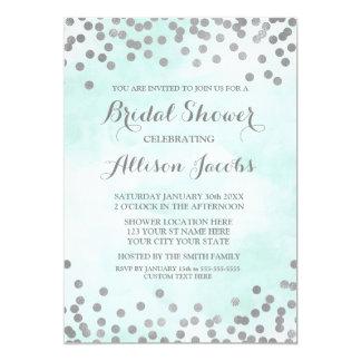 Blue Watercolor Silver Confetti Bridal Shower Card