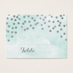 Blue Watercolor Silver Confetti Place Setting Card at Zazzle