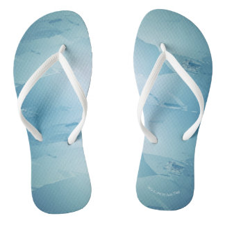 Blue Watercolor Spa Flip Flops