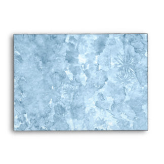 Blue watercolor splash with flowers envelope