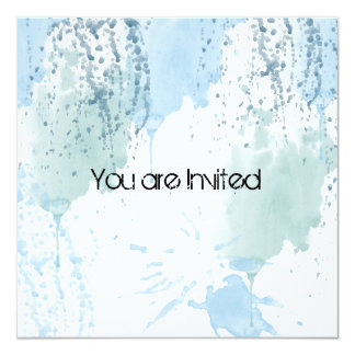 Blue Watercolor Splatter Abstract Baby Shower Personalized Invitations