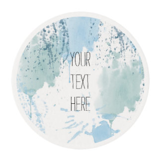 Blue Watercolor Splatter Abstract Edible Frosting Rounds