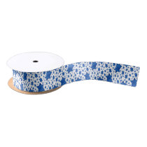 Blue Watercolor Star of David Satin Ribbon