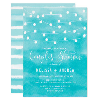 Blue Watercolor | String Lights Couples Shower Card