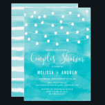 "Blue Watercolor | String Lights Couples Shower Invitation<br><div class=""desc"">Elegant and whimsical couples shower invitation featuring white hanging fairy lights and watercolor blue background. This invitation is perfect for nautical-themed and summer couples showers.</div>"