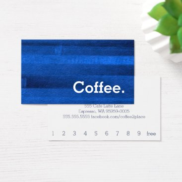 Coffee Themed Blue Watercolor Stripe Loyalty Coffee Punch-Card Business Card