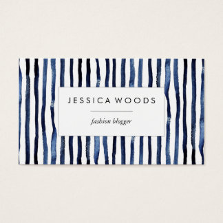 Blue Watercolor Stripes Business Card