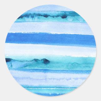 Blue watercolor stripes classic round sticker