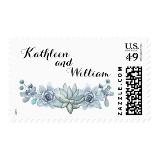 Blue Watercolor Succulent & Flower Postage Stamp