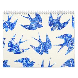 Blue Watercolor Swallow Bird Pattern Wall Calendars