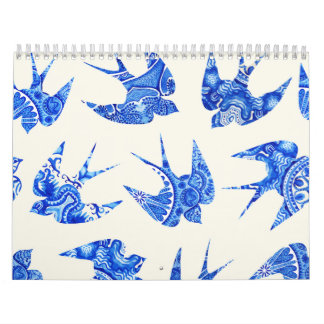 Blue Watercolor Swallow Bird Pattern Calendar