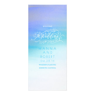 Blue Watercolor Swash Modern Wedding Programs