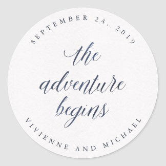 Blue Watercolor Text The Adventure Begins Wedding Classic Round Sticker