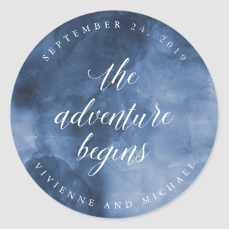 Blue Watercolor | The Adventure Begins Wedding Classic Round Sticker
