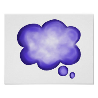Blue Watercolor Thought Balloon Poster
