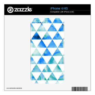 Blue Watercolor Triangle Design Decals For iPhone 4S