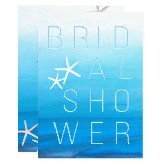 Blue Watercolor Tropical Modern BRIDAL SHOWER Card