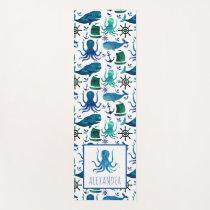 Blue Watercolor Under The Sea Octopus Kids Yoga Mat