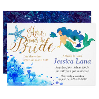 Blue watercolor undersea sweet mermaid golden text card
