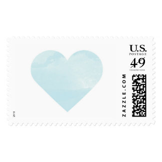 Blue Watercolor Wash Heart Postage