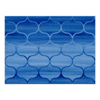 Blue Watercolor Wash Ogee Pattern Poster