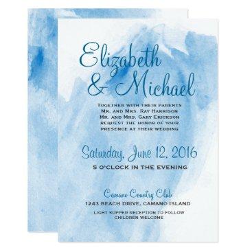 ericksondesigns Blue Watercolor Wedding Card