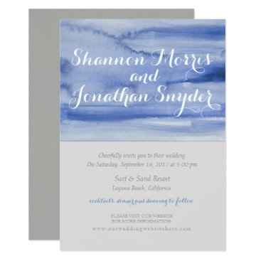 Beach Themed Blue Watercolor Wedding Invitation Calligraphy