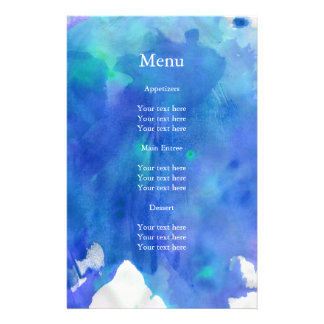 Blue Watercolor Wedding Menu