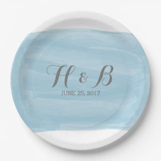 Blue Watercolor Wedding Paper Plates 9 Inch Paper Plate