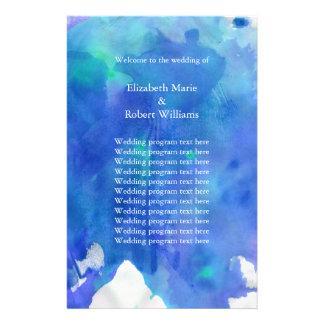 Blue Watercolor Wedding Program