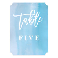 Blue watercolor wedding table number