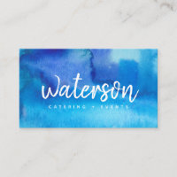 Blue Watercolor   White Script | Business Cards
