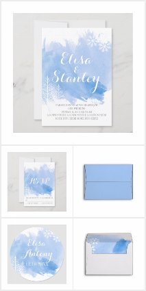 Blue watercolor winter wedding collection