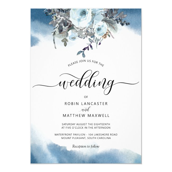 Blue Watercolor with Elegant Blue Floral Wedding Invitation