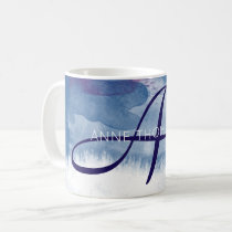 blue watercolor with name and initial (monogram) coffee mug