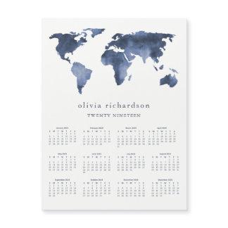 Blue Watercolor World Map | 2019 Calendar