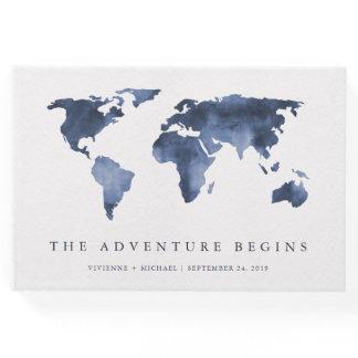 Blue Watercolor   World Map Wedding Guest Book