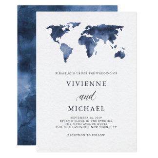 Blue Watercolor World Map   Wedding Invitation