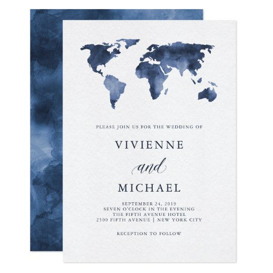 World Map Wedding Invitations.Blue Watercolor World Map Wedding Invitation Zazzle Com