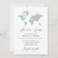 Blue watercolor world map wedding travel
