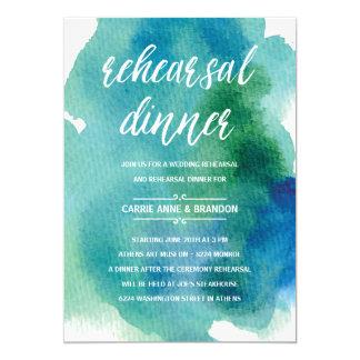 Blue Watercolors   Modern Rehearsal Dinner Card