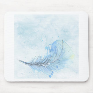 Blue Watercolour Feather Mouse Pad