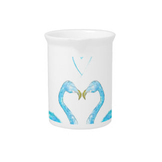 Blue watercolour flamingos with heart beverage pitchers