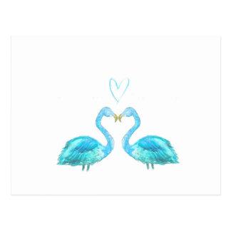 Blue watercolour flamingos with heart postcard