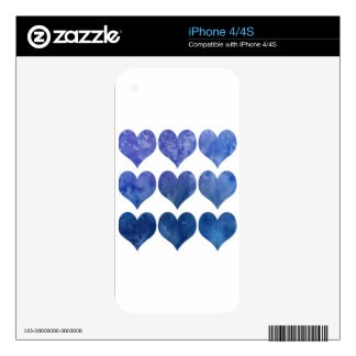 Blue Watercolour Love Heart Decal For The iPhone 4