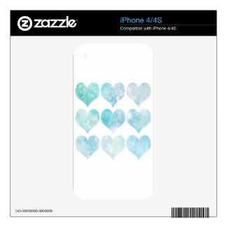 Blue Watercolour Love Heart iPhone 4S Decal