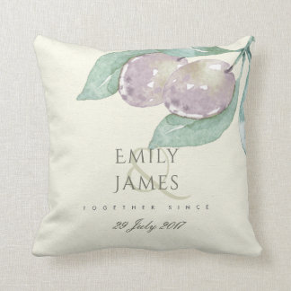 BLUE WATERCOLOUR OLIVE SAVE THE DATE WEDDING GIFT THROW PILLOW