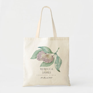 BLUE WATERCOLOUR OLIVE SAVE THE DATE WEDDING GIFT TOTE BAG